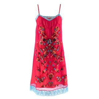 Koche Pink Crystal & Leather Embellished Silk Slip Dress