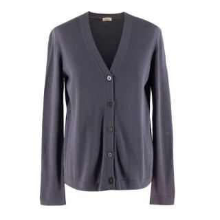 Malo Grey Cotton Knit Cardigan