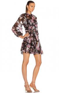 Zimmermann Black Floral Print Tiered Charm Mini Dress