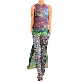 Mary Katrantzou Runway Silk Ocean Print High-Low Sheer Top