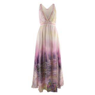 Matthew Williamson Yellow & Pink Tie Dye Silk Chiffon Maxi Dress