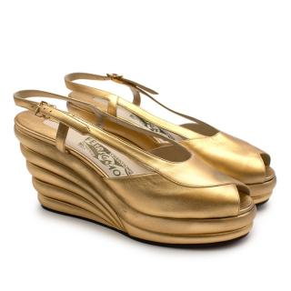 Salvatore Ferragamo Gold Leather Dotted Limited Ed. 1942 Wedge Shoes