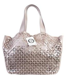 Alaia Pearl grey Lasercut Leather Tote Bag