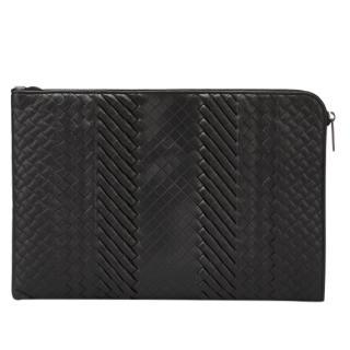 Bottega Veneta Black Imperatore Leather Document Case