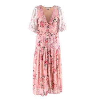 Hemant & Nandita Pink Floral Midi Dress