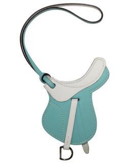 Hermes Swift Leather Bleu Atoll/Blanc Paddock Selle Charm