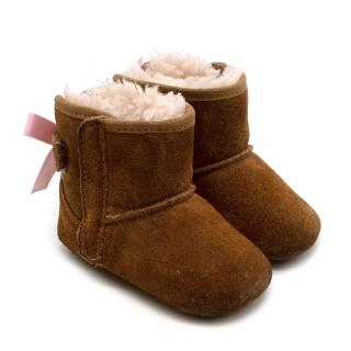 Ugg Brown Suede Shearling Lined Jesse Bow Boots