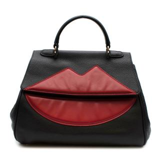 Sara Battaglia Black Leather Lips Tote Bag