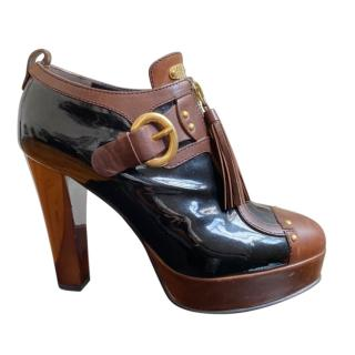 Vicini Two-Tone Smooth & Patent Leather Ankle Boots