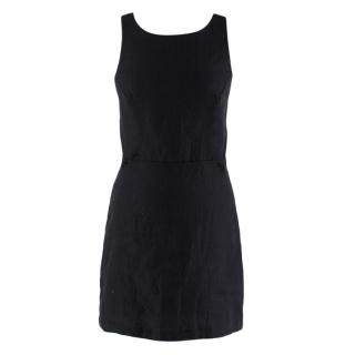 SIR Black Linen Open Back Mini Dress