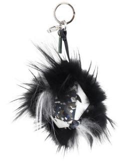 Fendi Black Fox/Goat Fur Camo Bag Bugs Monster Charm