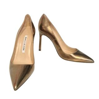 Manolo Blahnik Bronze Leather 105mm Pumps