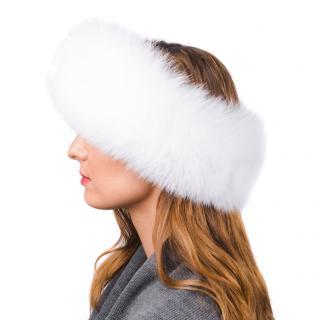FurbySD White Arctic Fox Fur Cashmere Lined Headband