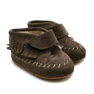 Papouelli Brown Suede Wool Lined Kimmy Boots