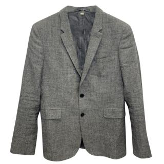 Burberry grey Linen, Wool & Silk Single Breasted Tailored Jacket
