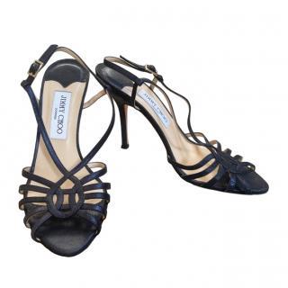 Jimmy Choo Blue Metallic Suede Sandals