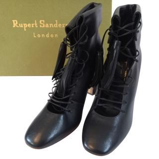Rupert Sanderson Black Tassel Lace-Up Ankle Boots