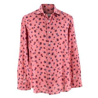Donato Liguori Linen Blend Pink Floral Tailored Long Sleeve Shirt