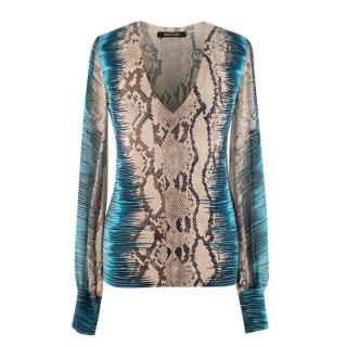 Roberto Cavalli Snake Print Silk & Cashmere V Neck Sweater