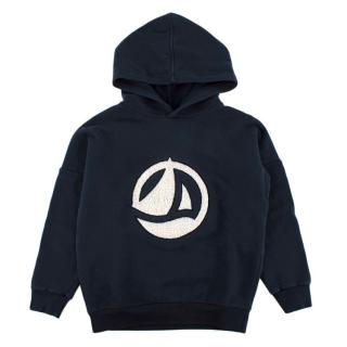 Petit Bateau Navy Boat Logo Hooded Sweatshirt
