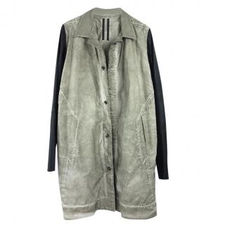 Rick Owens Distressed Leather Longline Trench Coat