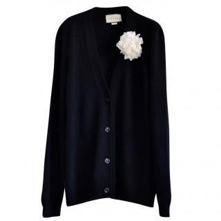 Gucci Black Wool & Cashmere Longline Cardigan