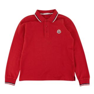 Moncler Red Cotton Long Sleeve Polo Shirt