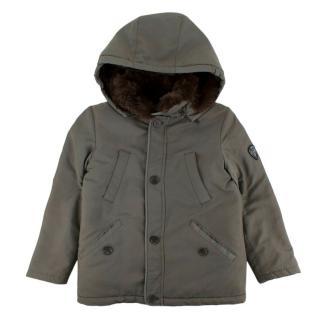Bonpoint Faux Fur Lined Khaki Jacket