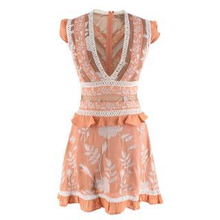 For Love & Lemons Peach Embroidered Short Dress