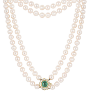 Bespoke Yellow Gold Diamond & Emerald Pendant Pearl Necklace