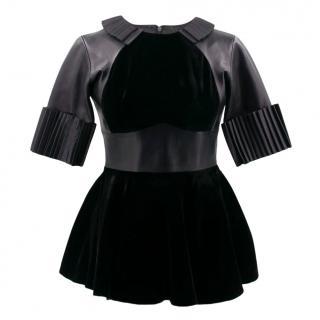 Christopher Kane Black Velvet & Leather Peplum Top