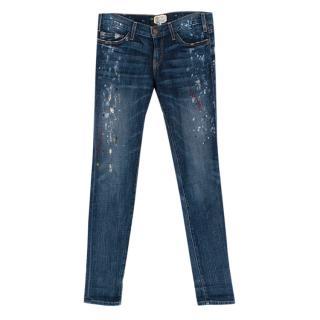 Current Elliott Blue Denim The Skinny Paint Jeans