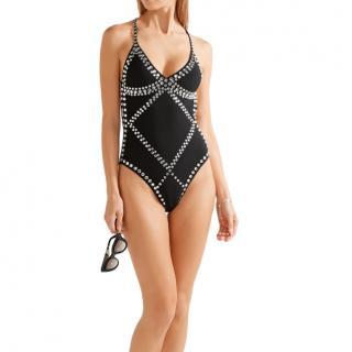 Norma Kamali Black Crystal Embellished Mio Swimsuit