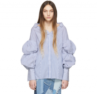 Enfold Blue Puff Sleeve Striped Blouse