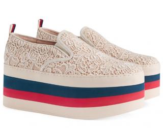 Gucci Beige Lace Platform Sneakers