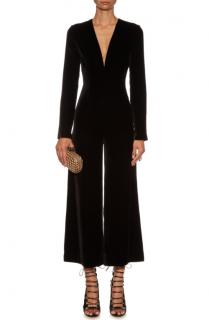 La Mania Tico Plunging V-neck Cropped Velvet Jumpsuit
