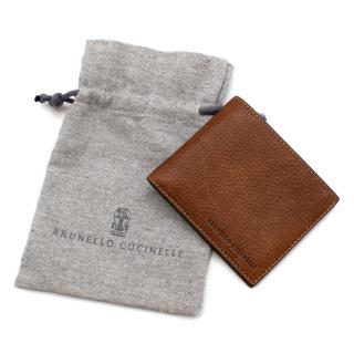 Brunello Cucinelli Brown Grained Calfskin Wallet