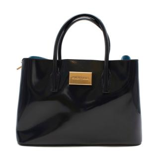 Bimba & Lola Navy Patent Leather Top Handle Bag