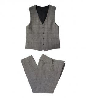 Burberry mens wool prince of wales check waistcoat & pants
