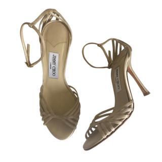 Jimmy Choo Satin Champagne Sandals