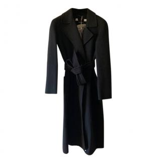 Max Mara Black Double Face Wool Trench Coat