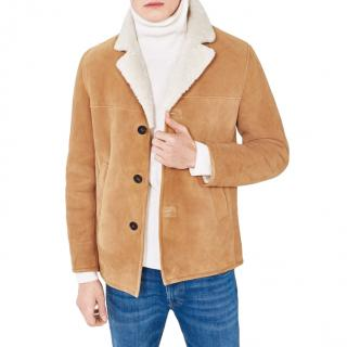 Gant Ocre Lambskin The Breezer Shearling Jacket