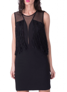 Sandro Black Fringed Detail Mini Dress