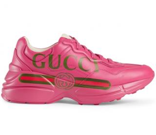 Gucci Pink Rhyton Logo Leather Sneaker