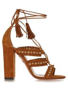 Aquazzura Brown Tulum Fringed Studded Suede Sandals