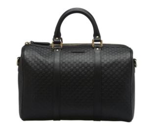 Gucci Black Microguccissima Boston Bag