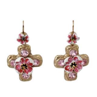 Dolce & Gabbana Pink Crystal Cross Earrings