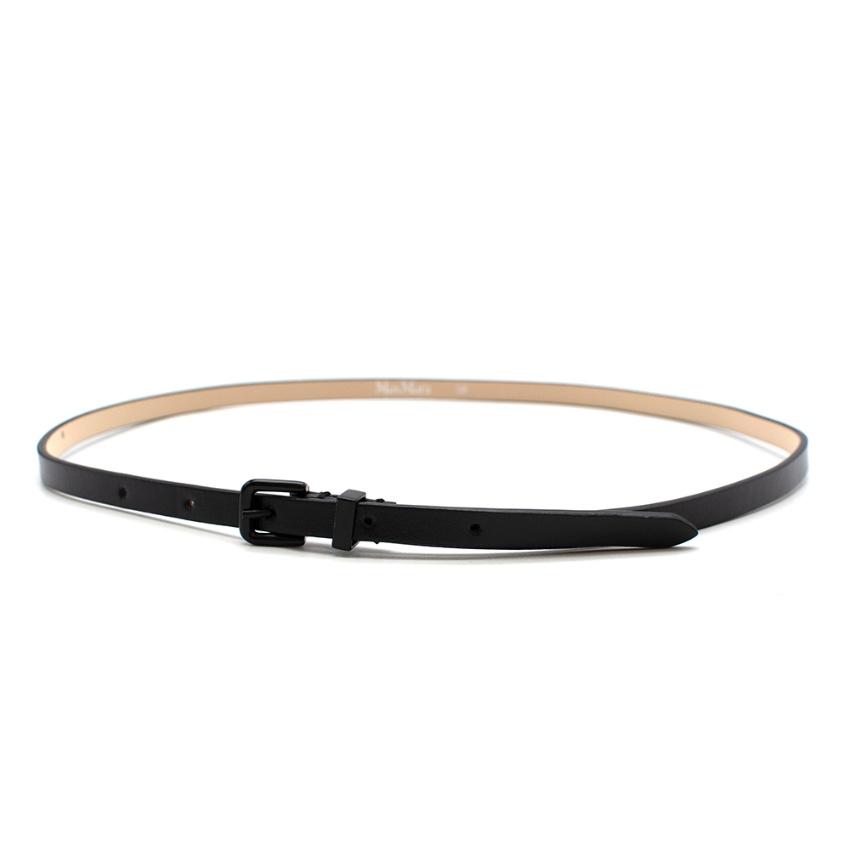 Max Mara Black Leather Skinny Belt