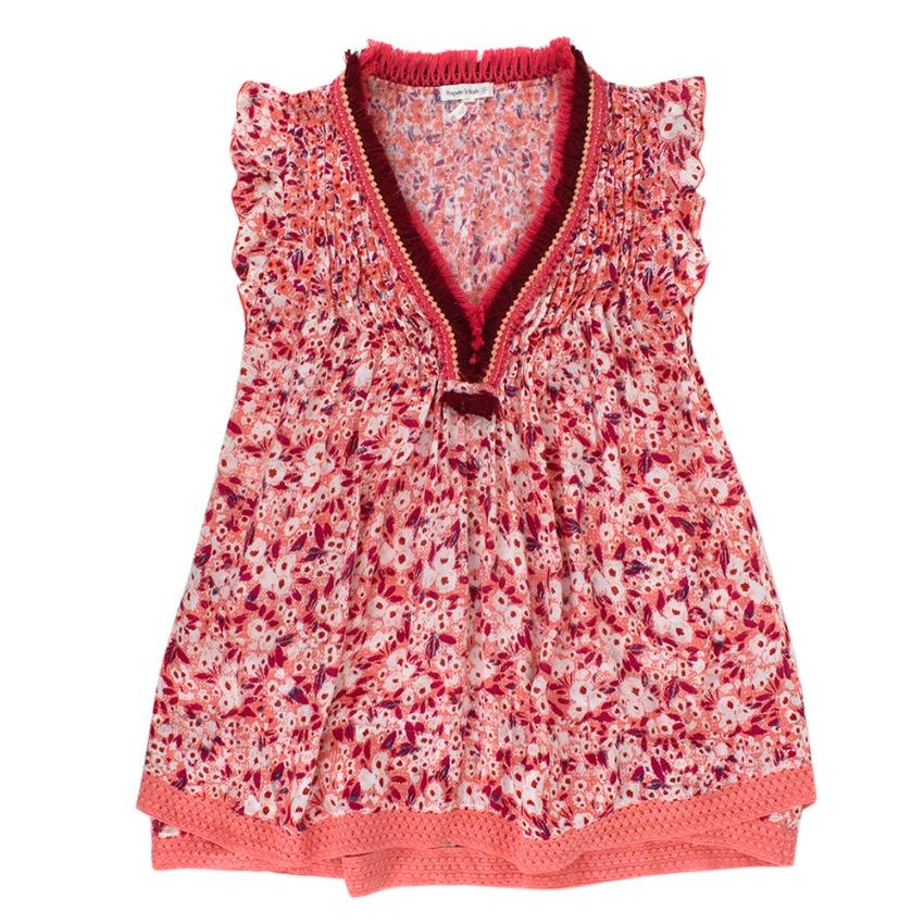 Poupette St Barth Kid's M Pink Floral Fringed Sasha Dress