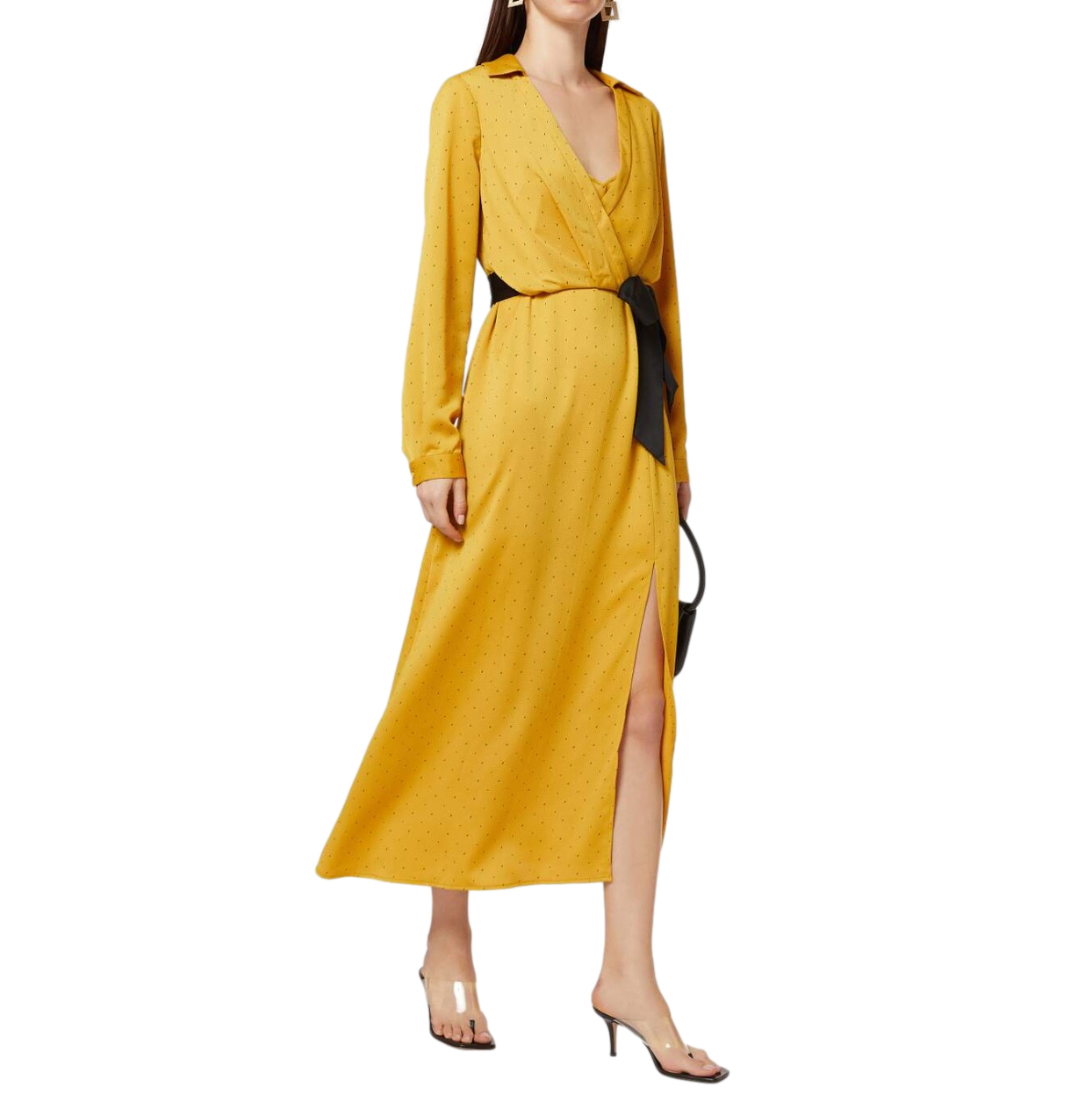 BCBG Max Azria Yellow Satin Spotted Midi Dress